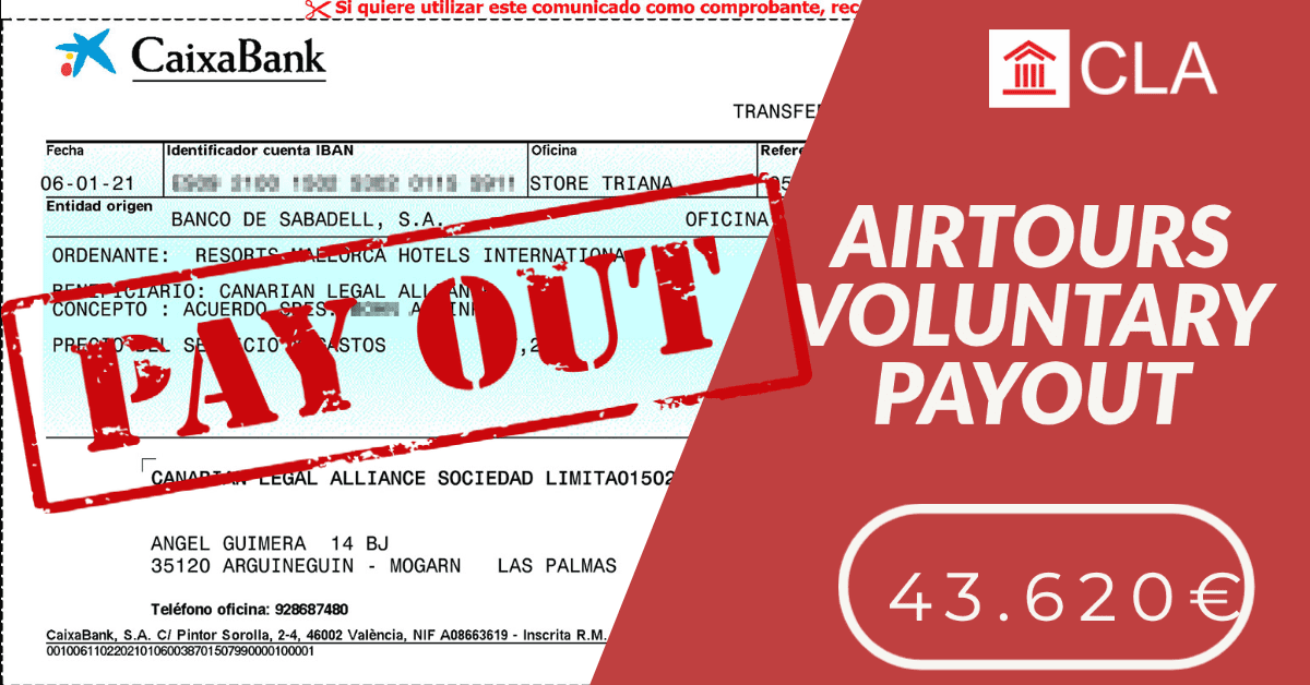 AIRTOURS VOLUNTARY PAYOUT 43.620€