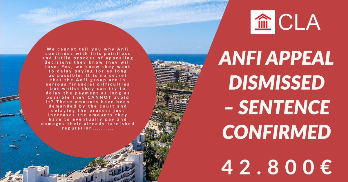 ANFI APPEAL DISMISSED – SENTENCE CONFIRMED – 42.800€
